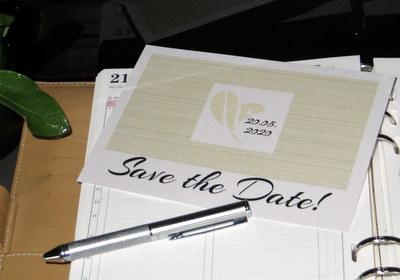 Ausgefallene Save the Date Karte für eine moderne Hochzeit