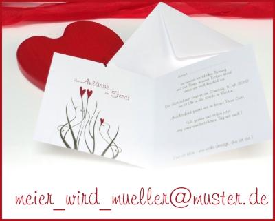 Einladungskarte zur Hochzeit mit Taufe.