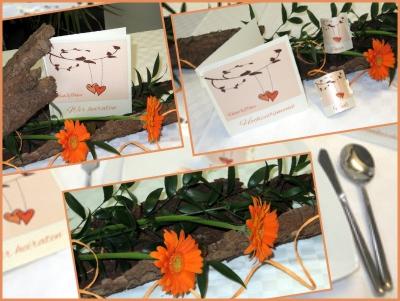 Besondere Hochzeitskarten in orange und apricot mit einer wunderschönen Hochzeitsdeko.