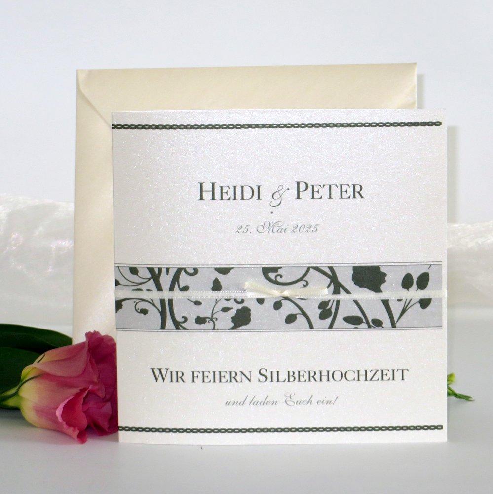 Florales Design dunkelgrün Silberhochzeit