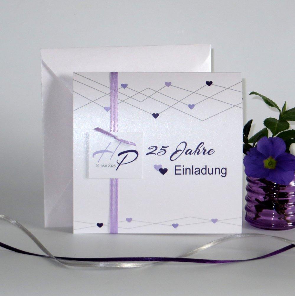 Farbherzen lila Silberhochzeit
