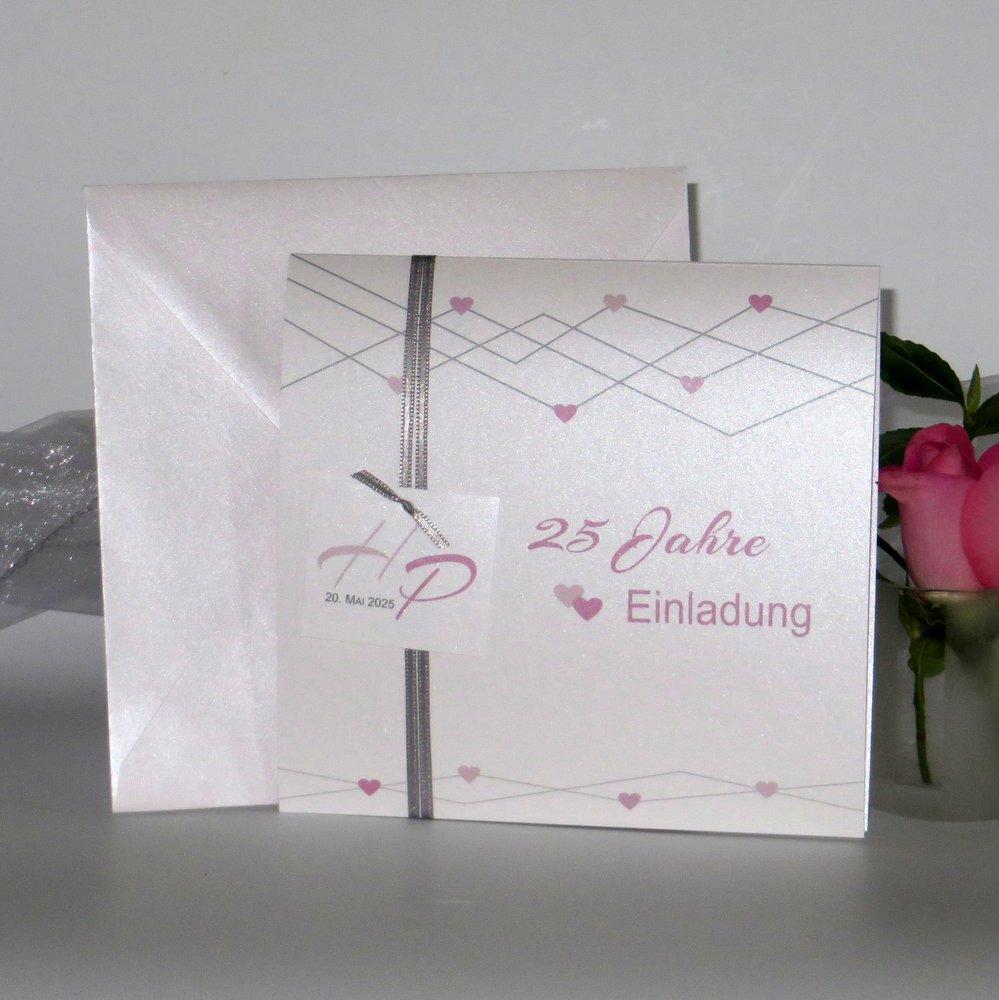 Farbherzen rosa Silberhochzeit