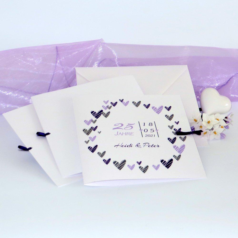 Herzring lila & flieder Silberhochzeit