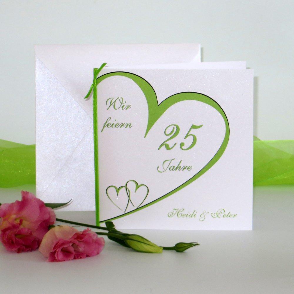 Herzschlag grün Silberhochzeit