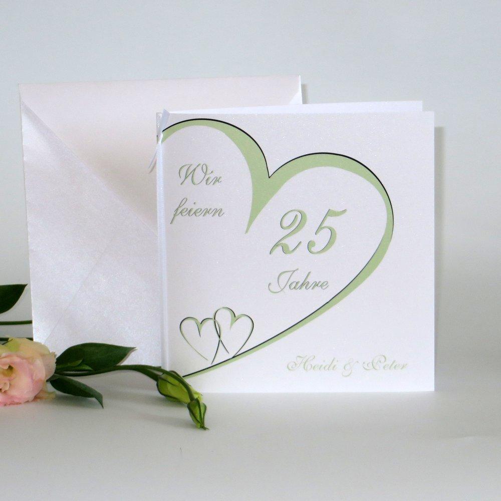 Herzschlag lindgrün Silberhochzeit