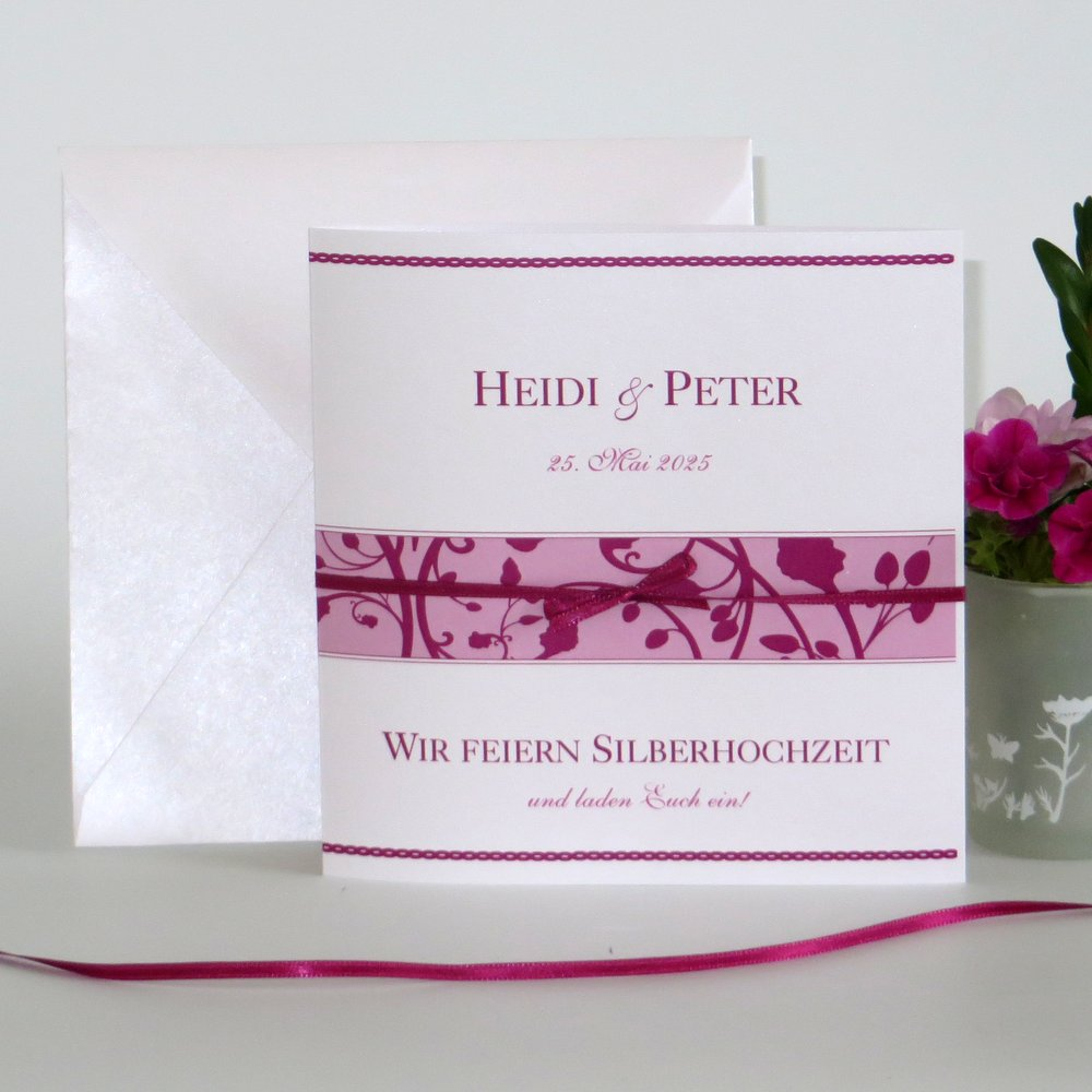 Florales Design pink Silberhochzeit