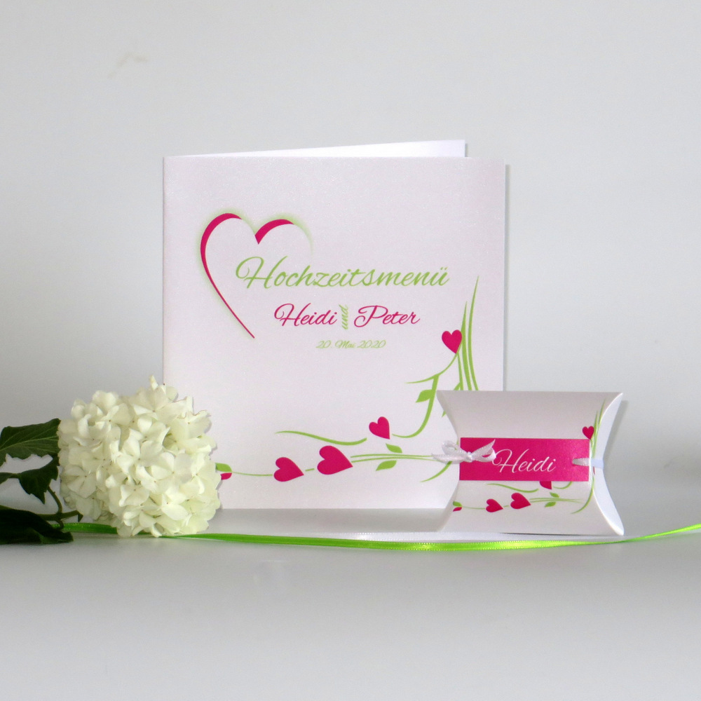 Hochzeitsherz pink und grün