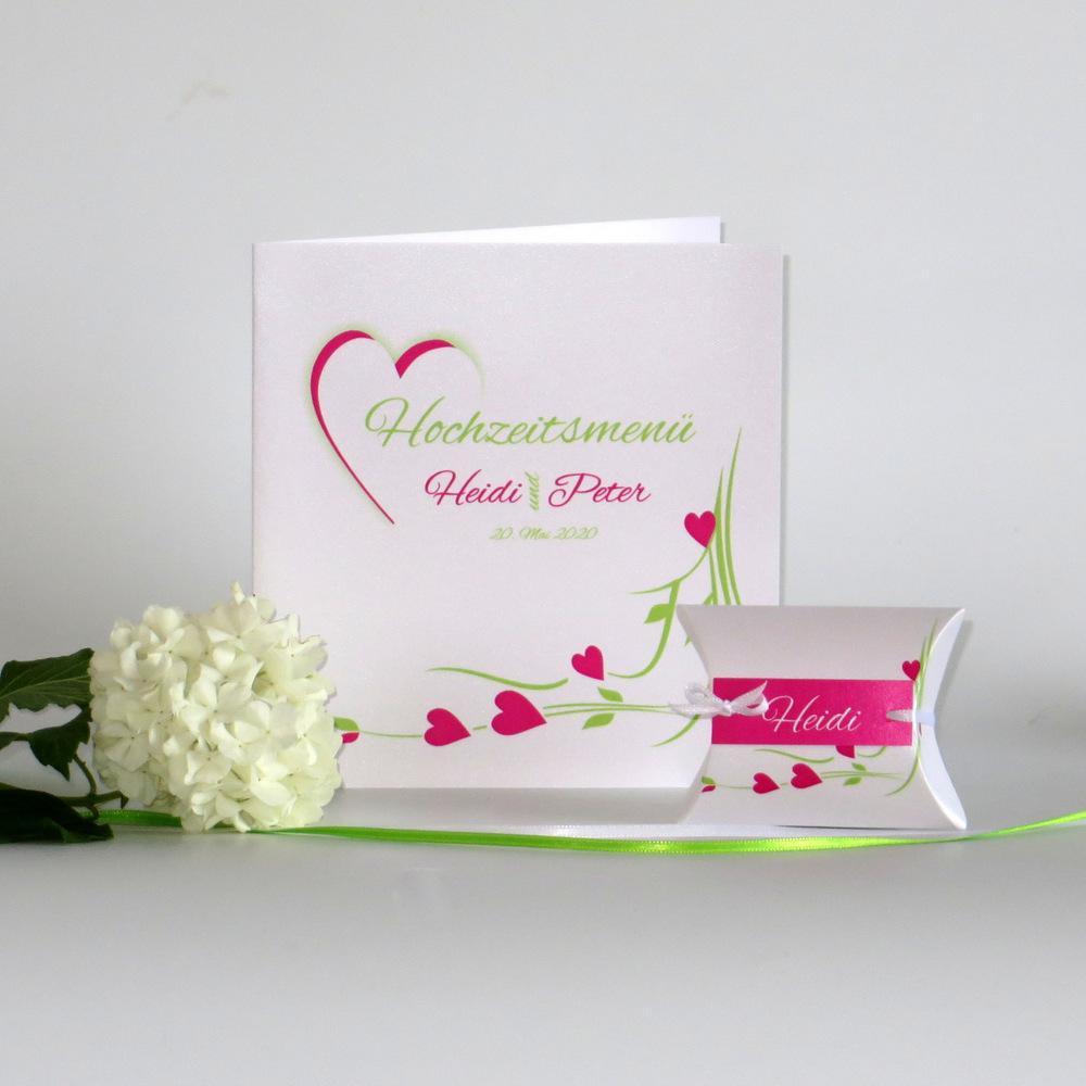 Hochzeitsherz grün und pink
