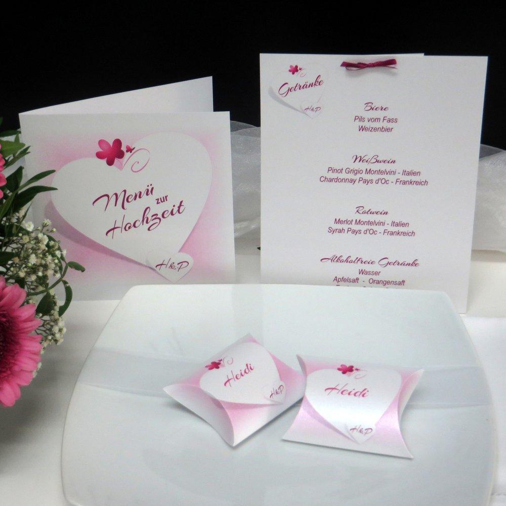 Herzkarte pink & rosa