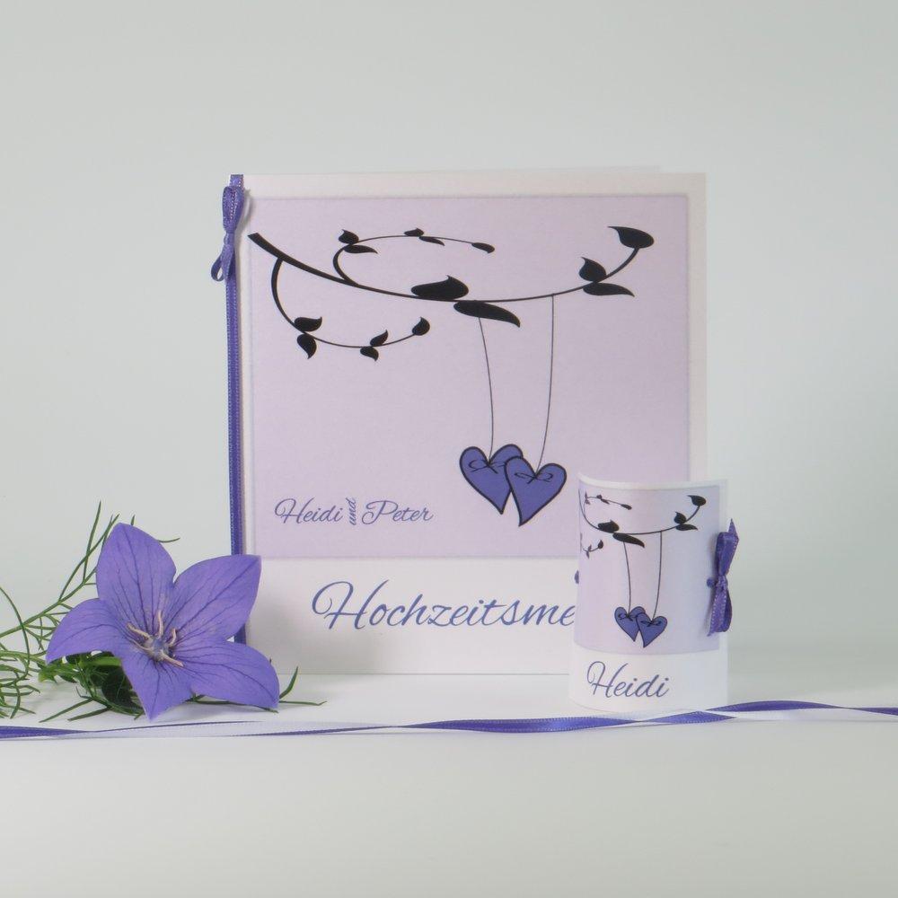 Hochzeitsdrucksachen Herzen am Ast lila