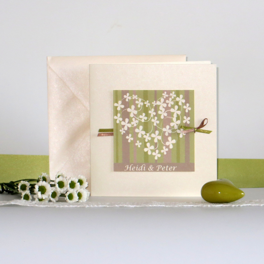 Blumenherz creme mit grün & braun