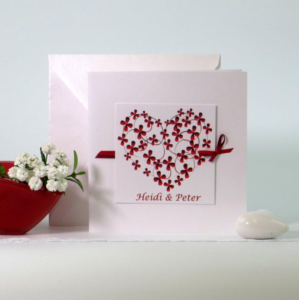 Blumenherz rot & weiß