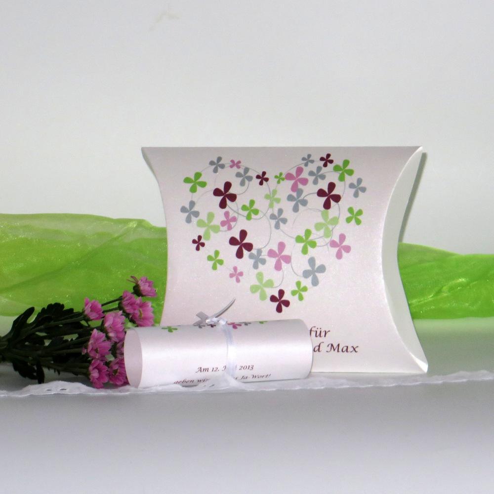 Blumenherz grün, rosa und aubergine