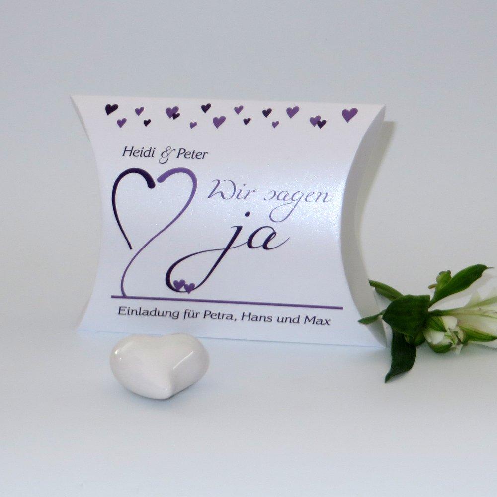 Herzblume lila & weiß