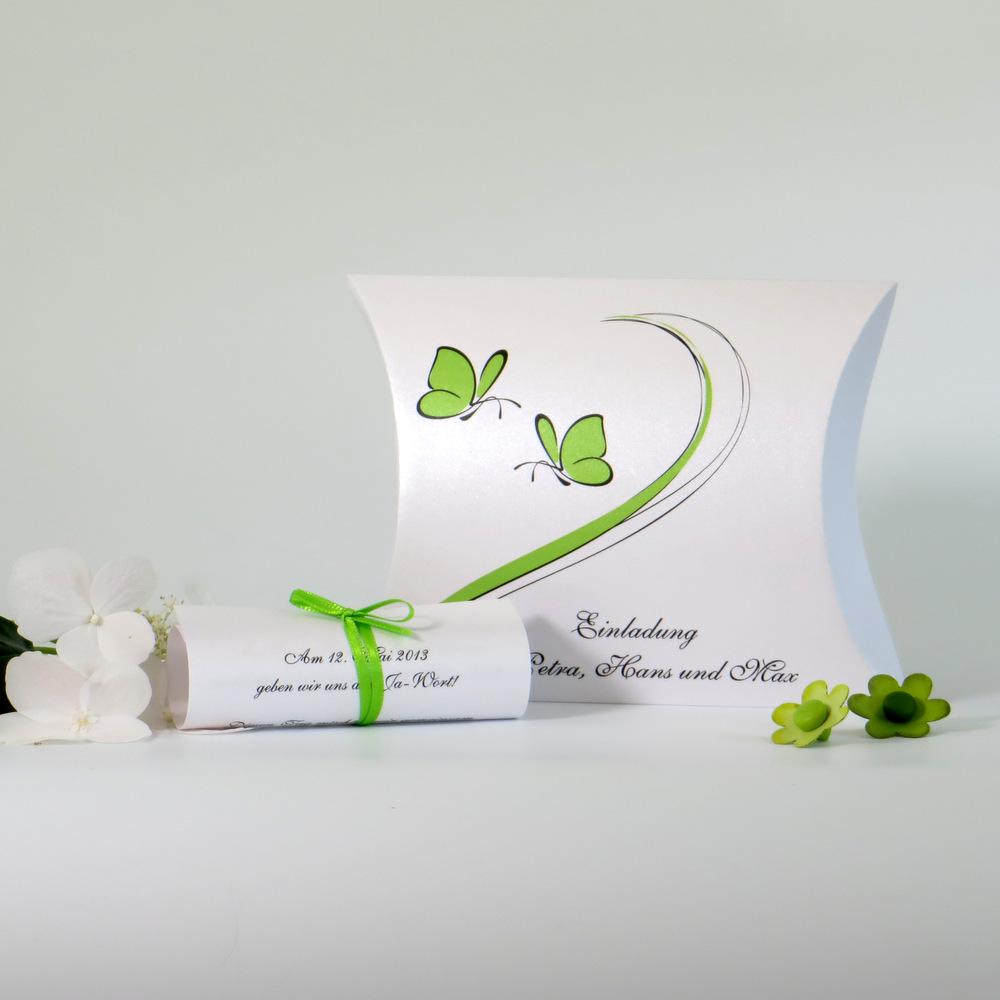 Schmetterlinge grün und weiß