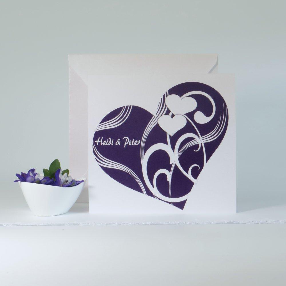 Elegantes Herz lila