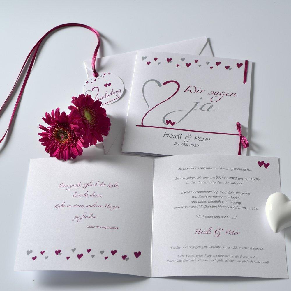 Herzblume pink & grau