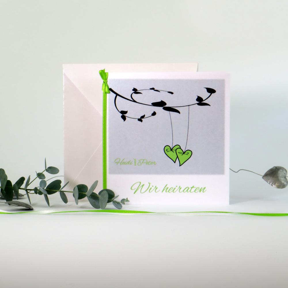 Herzen am Ast grün & weiß