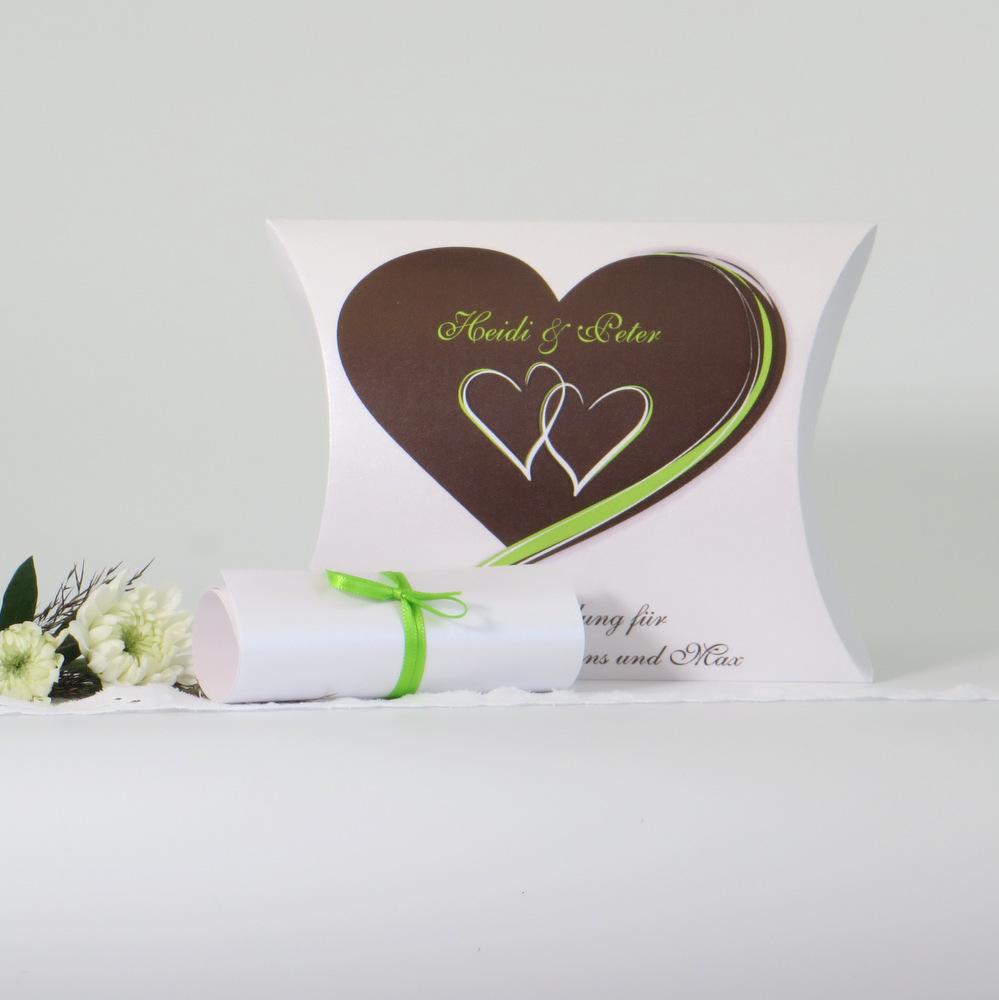 Herzpaar braun und grün