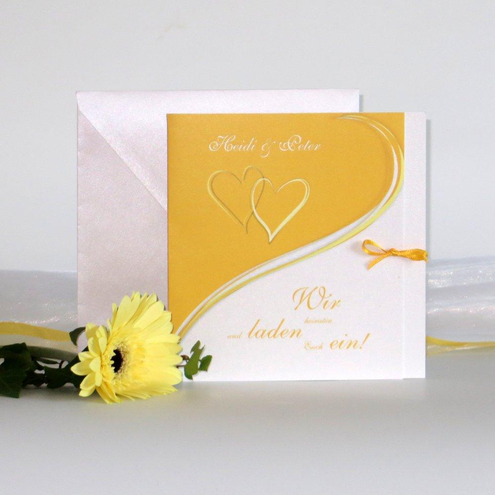 Herzpaar gelb & weiß
