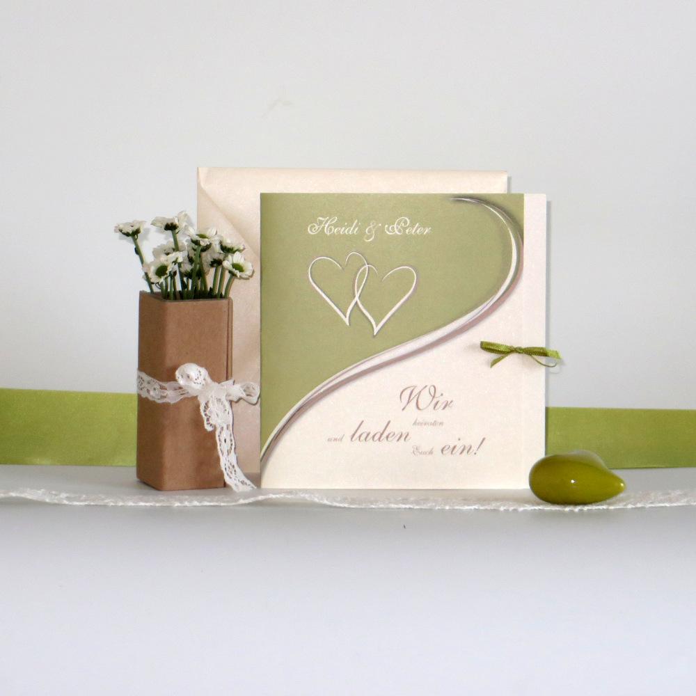 Herzpaar in grün, braun und creme