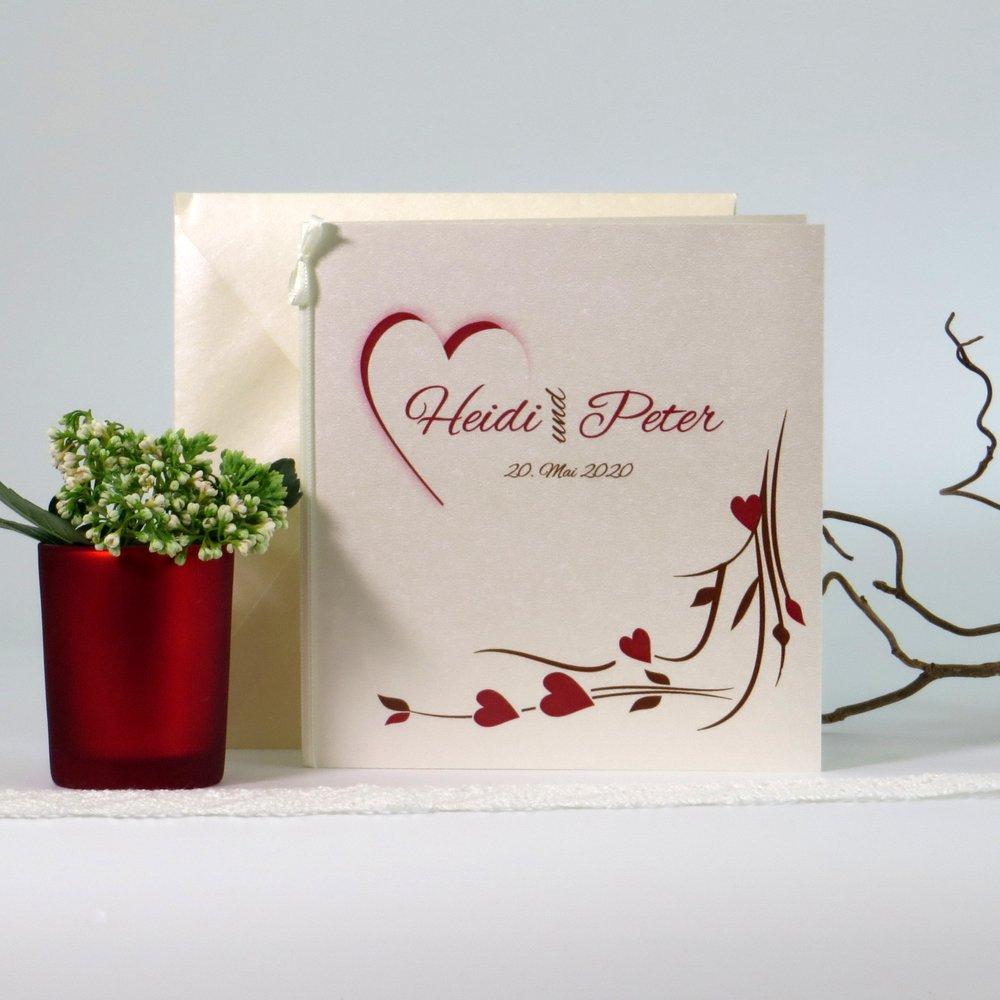 Hochzeitsherz braun & rot