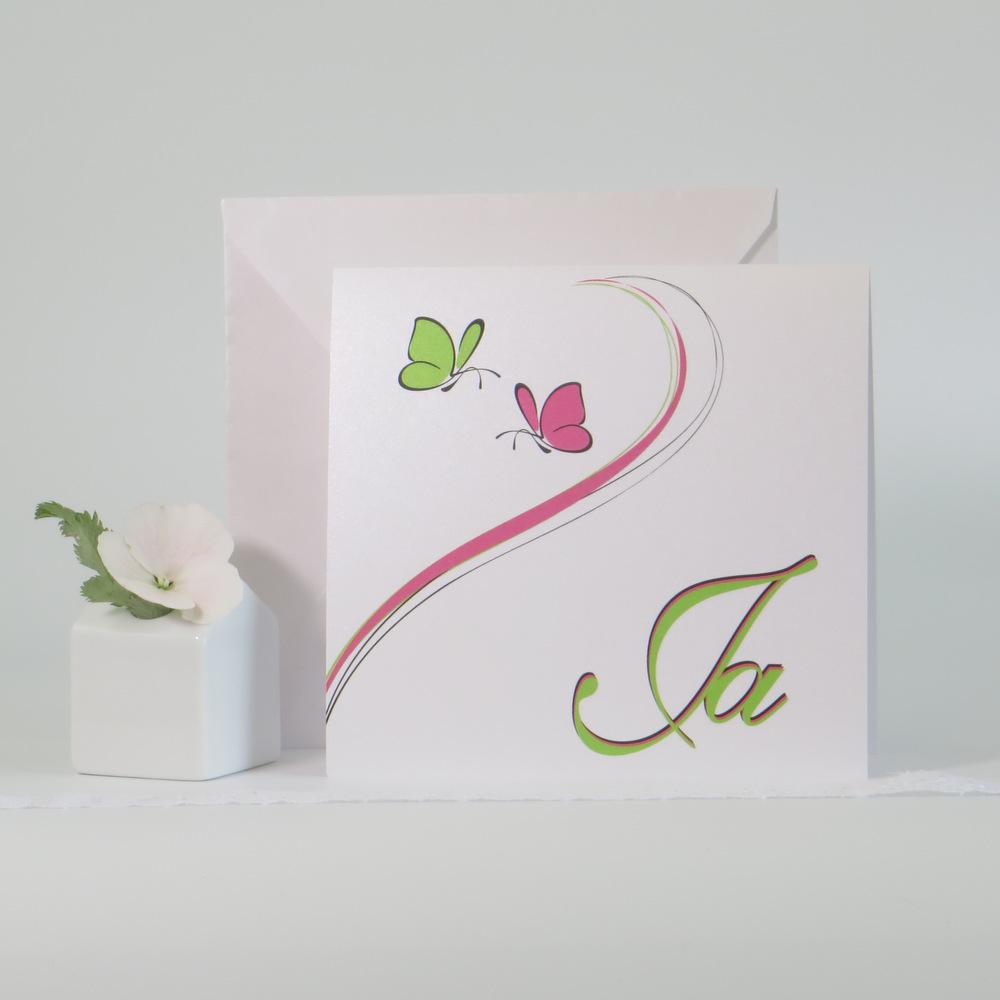 Schmetterlinge in pink & grün