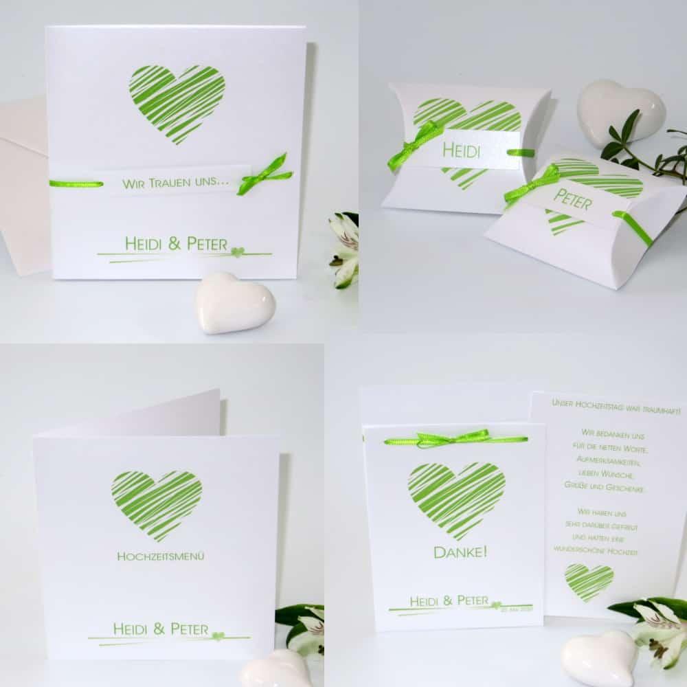 Streifenherz grün & weiß