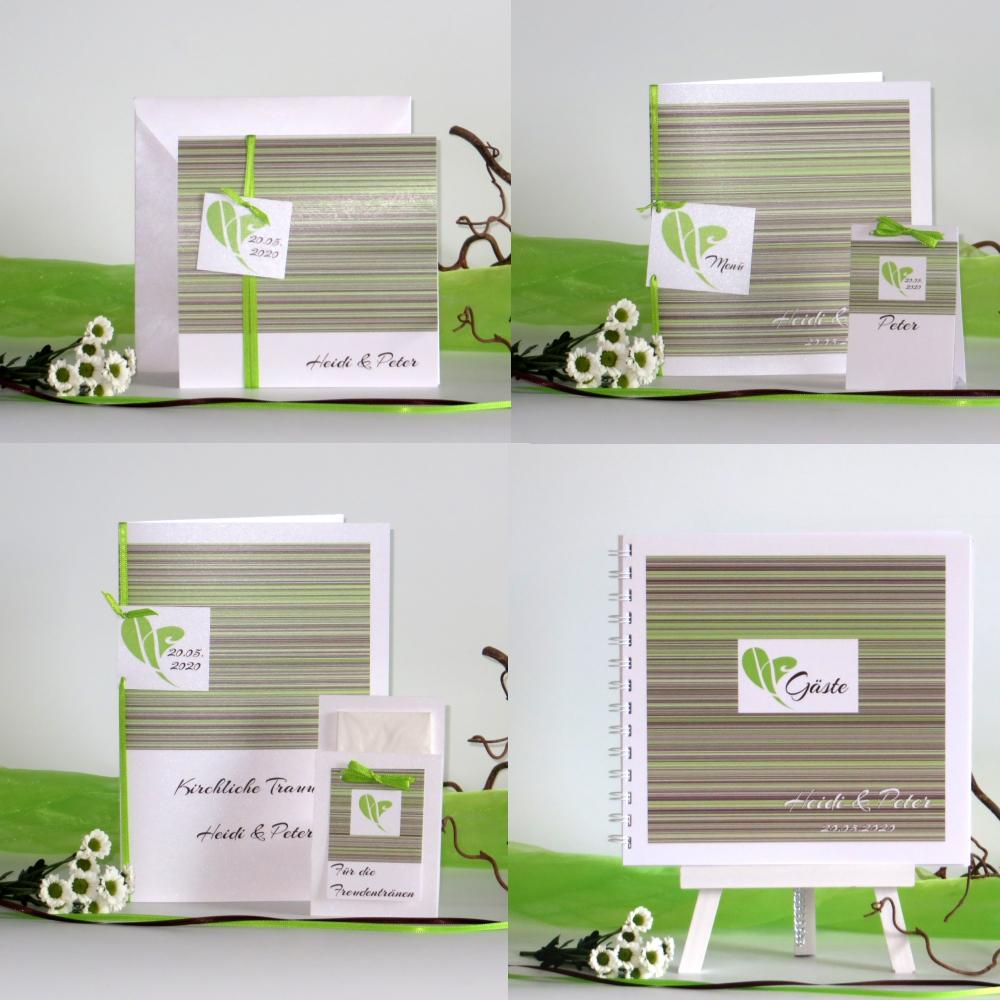 Feine Linien grün & braun auf weiß
