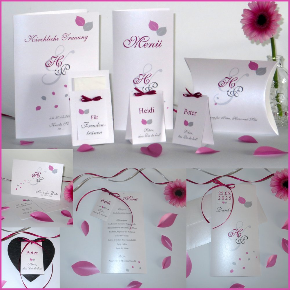 Blättertraum pink & grau
