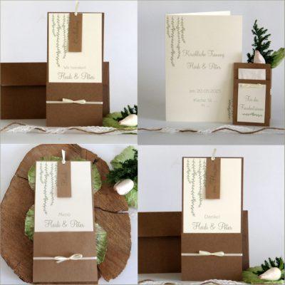 Hochzeitskarten im angesagten Grünton mit Details aus Kraftpapier.