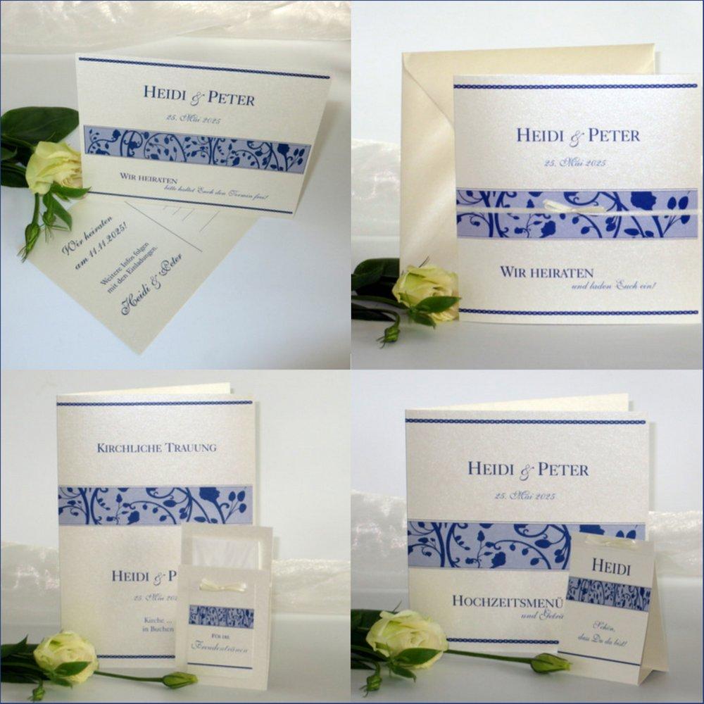 Florales Design blau