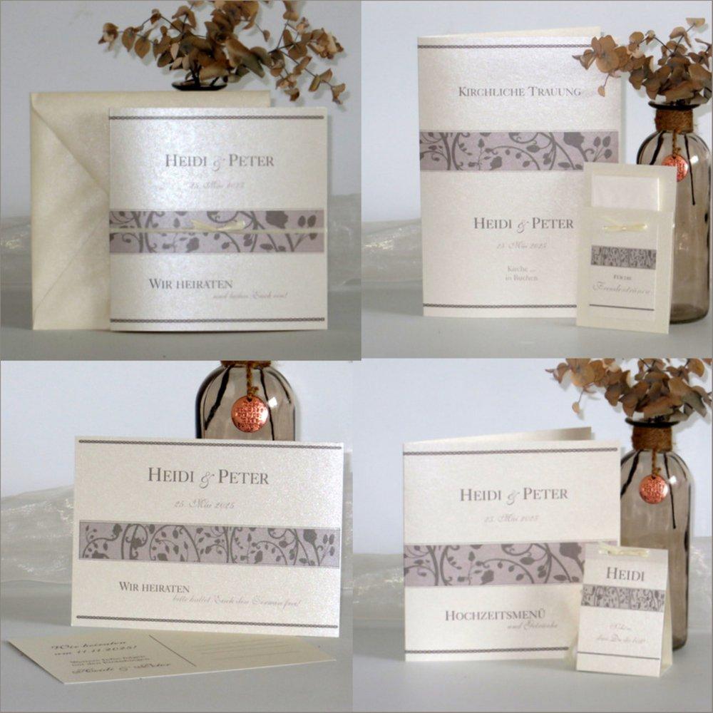 Florales Design taupe