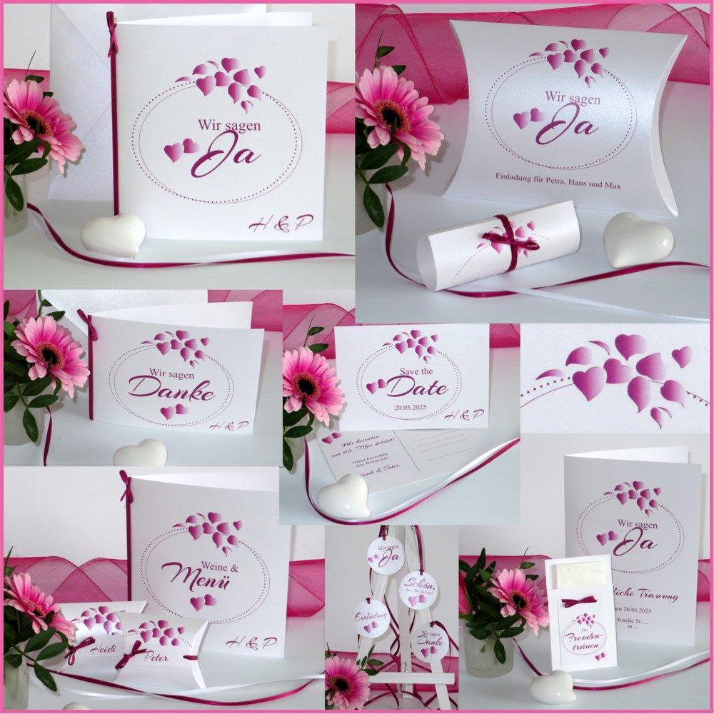 Herzblatt pink & weiß