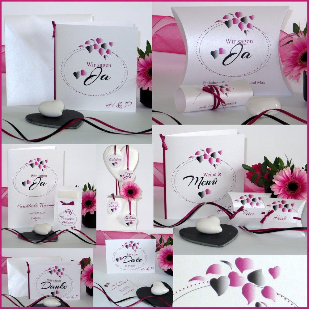 Herzblatt pink & schwarz
