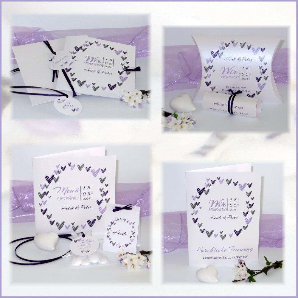 Herzring lila & flieder