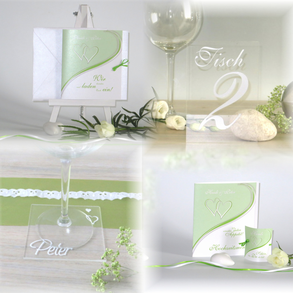 Herzpaar grün & weiß