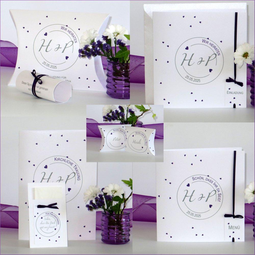 Konfetti lila & grau