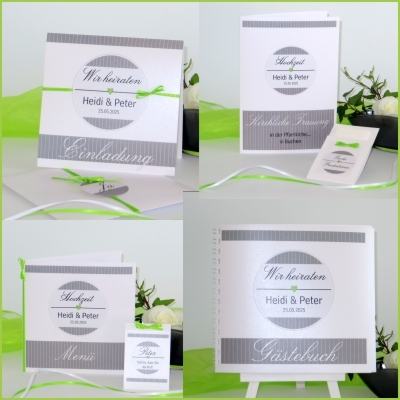 Besondere Hochzeitskarten in trendy grün und weiß.