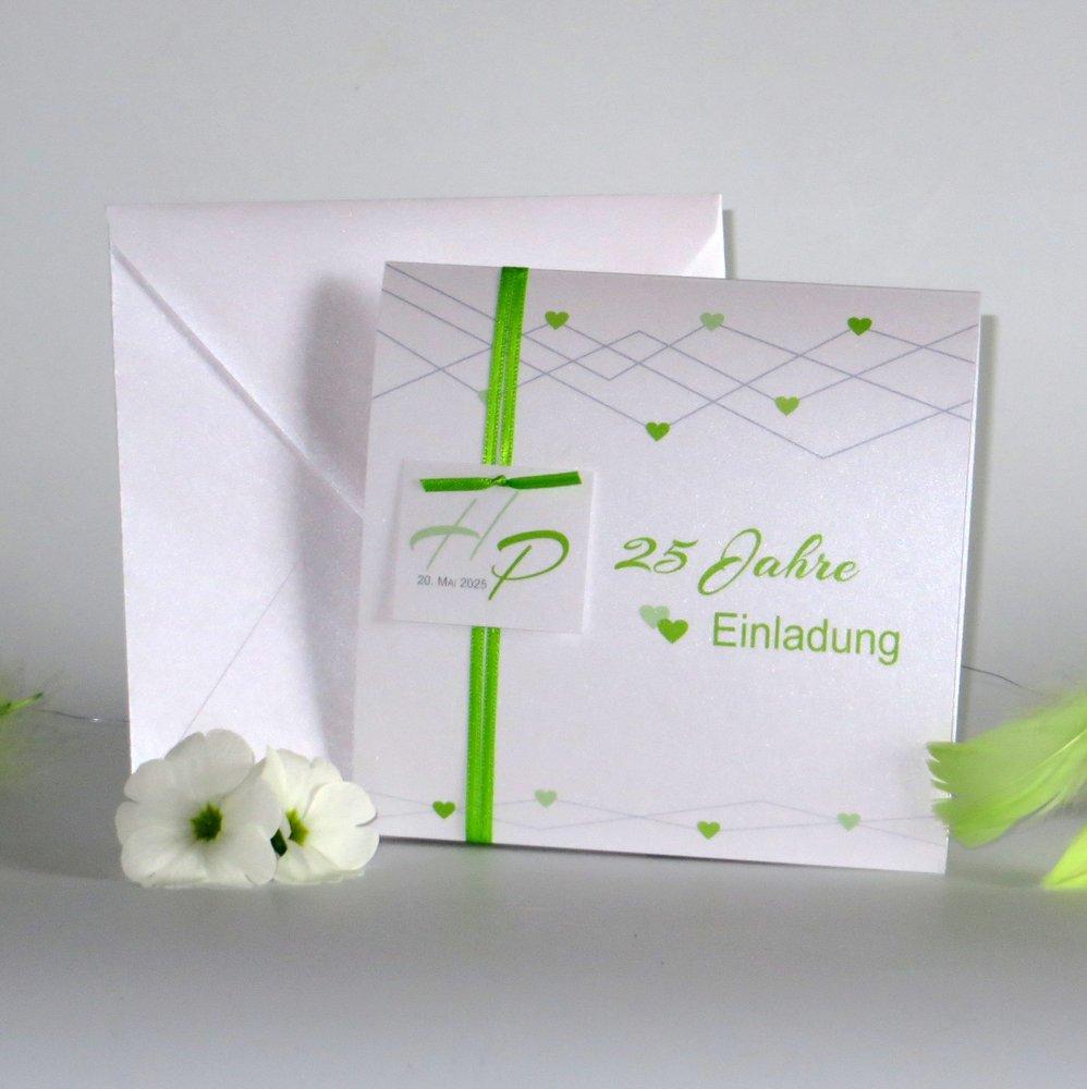 Farbherzen grün Silberhochzeit