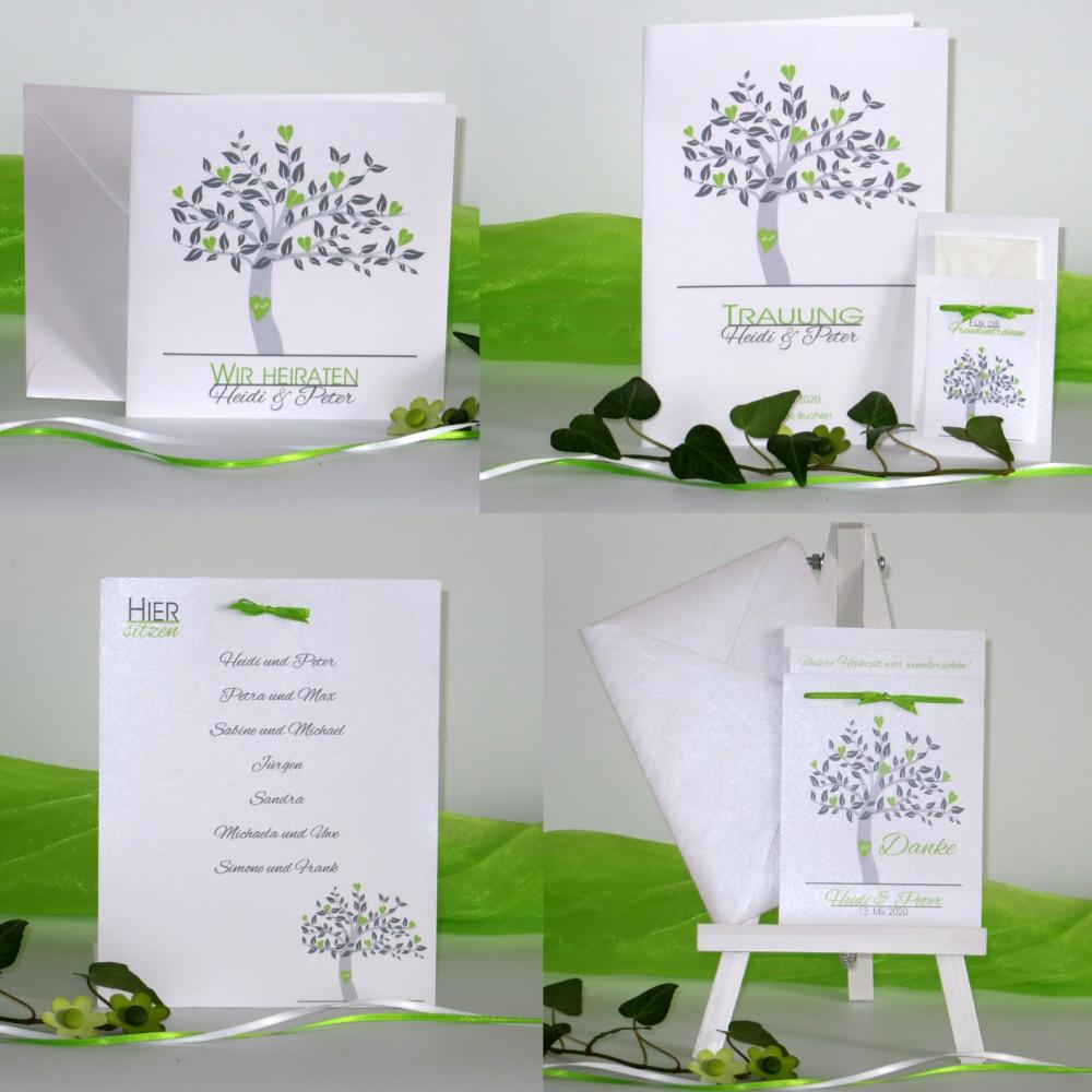 Baum grün, grau und weiß