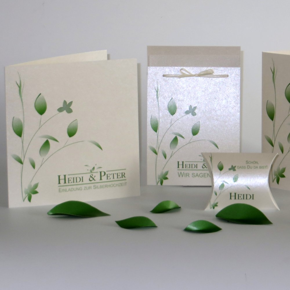 Blattwerk grün Silberhochzeit