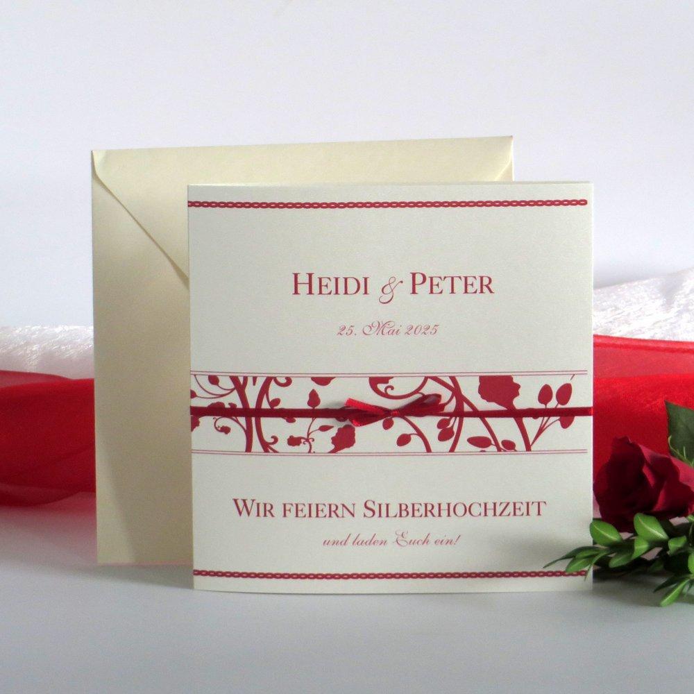 Florales Design rot Silberhochzeit