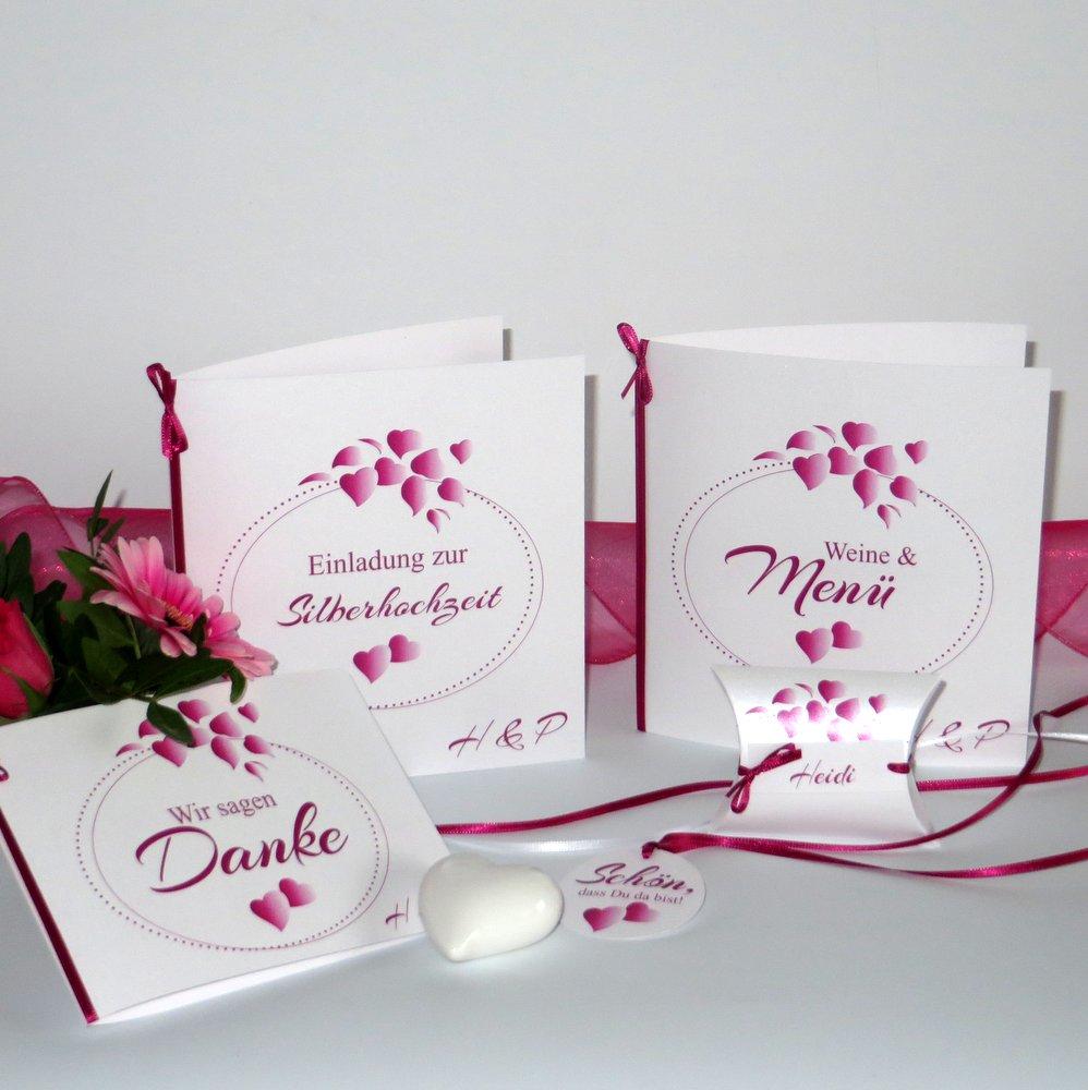 Herzblatt pink Silberhochzeit