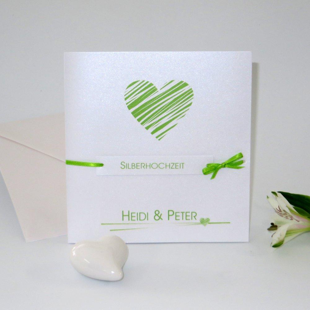 Streifenherz grün Silberhochzeit