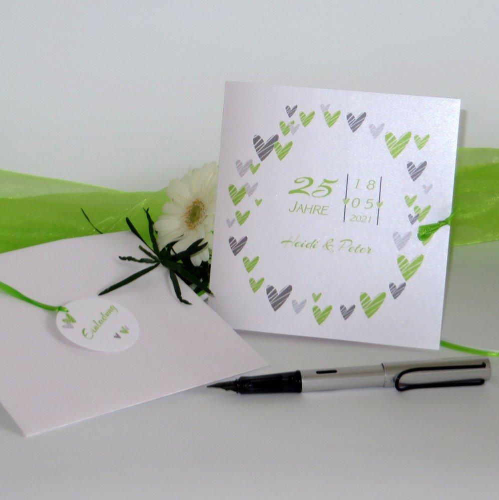 Herzring grün Silberhochzeit