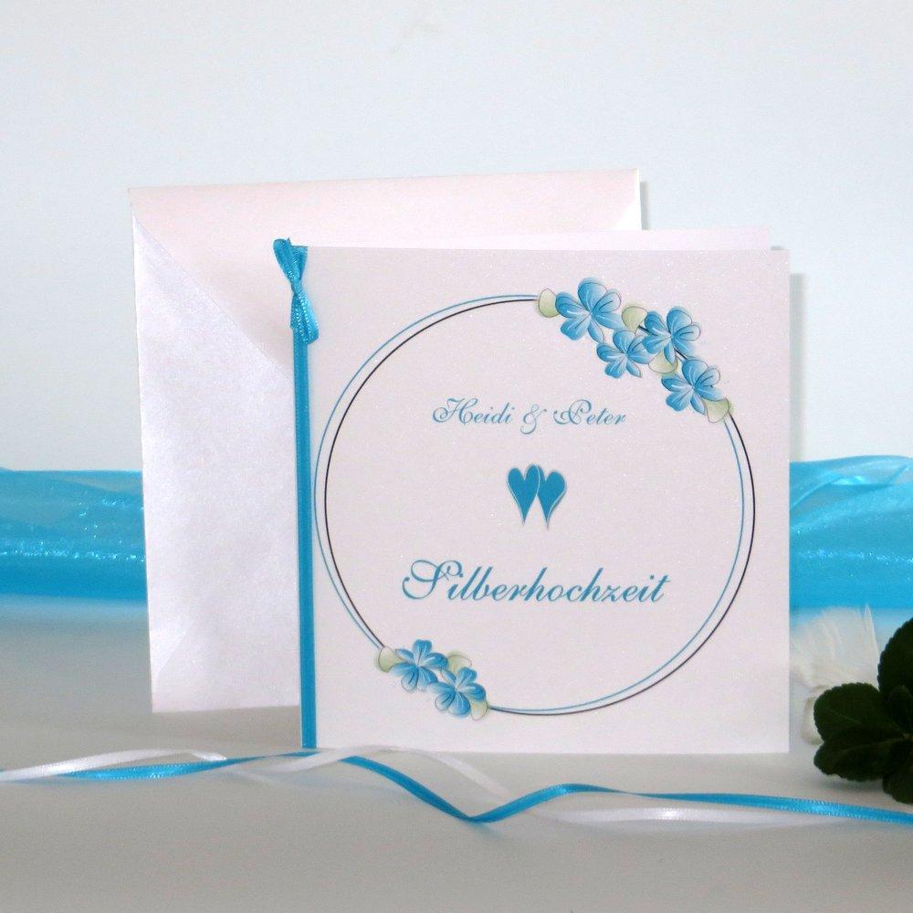 Blumenkranz türkis Silberhochzeit