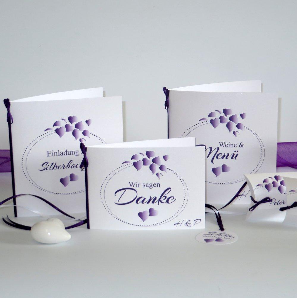 Herzblatt lila Silberhochzeit