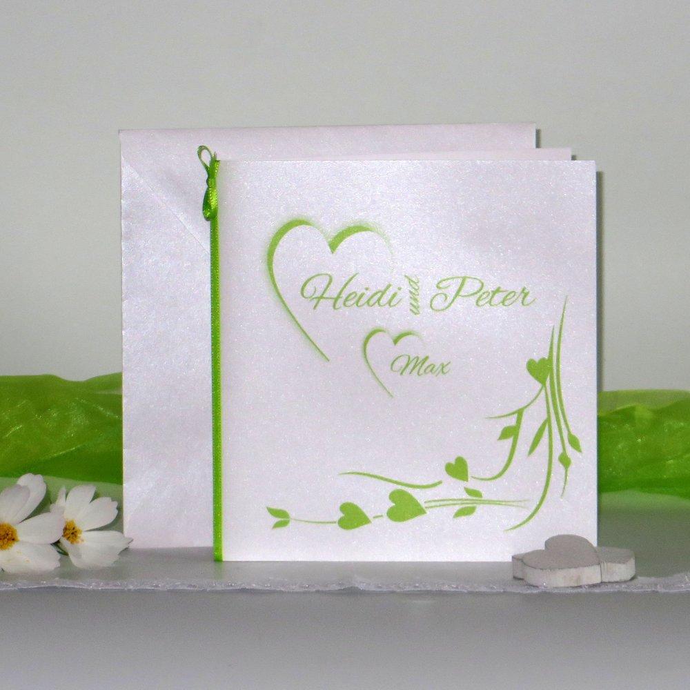 Hochzeitsherz grün - Traufe