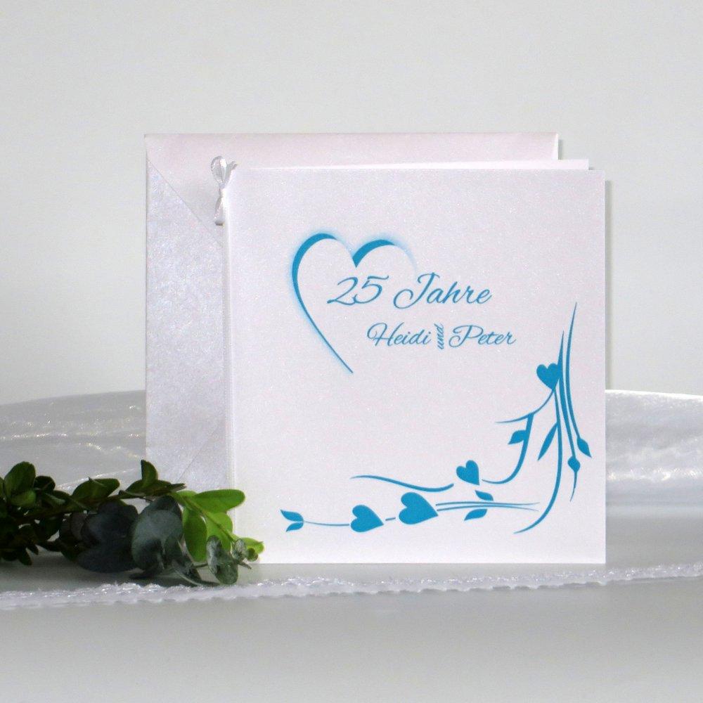 Hochzeitsherz türkis - Silberhochzeit